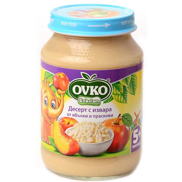 Ovko Бебешки десерт/извара, ябълки и праскови/от 5-ия месец 190 гр.